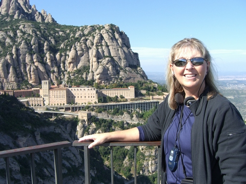 Jamie at Saint Michael's Cross. Monastery at Montserrat