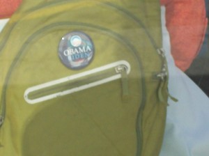 Obama/Biden button on a backpack in Barcelona